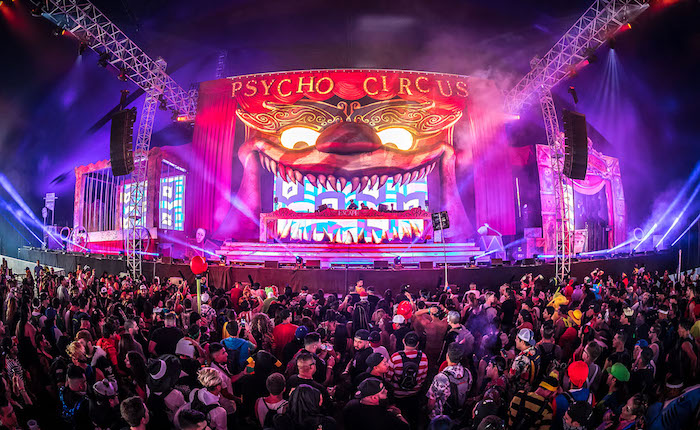 Escape: Psycho Circus daily lineups by stage