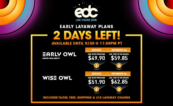 EDC Las Vegas layaway plans